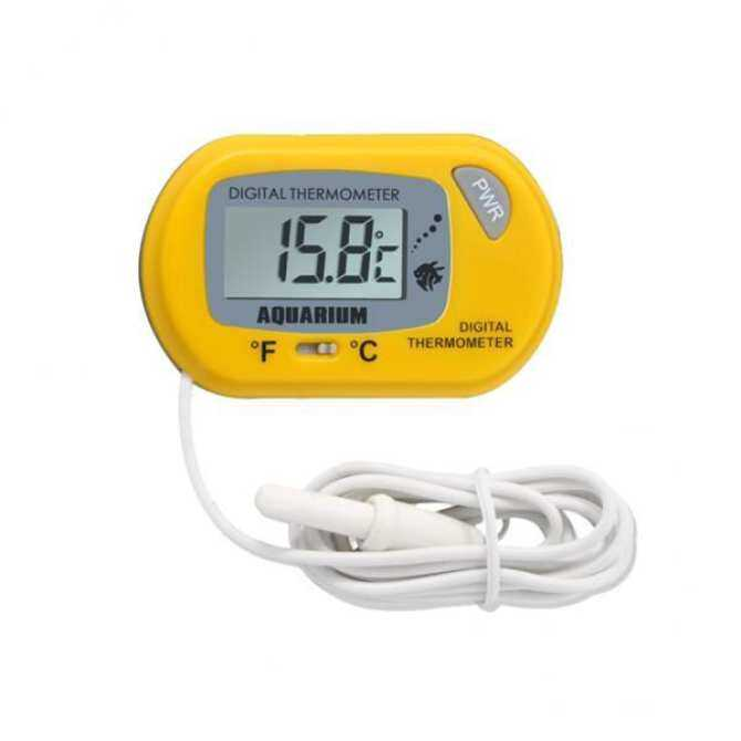 Fish Tank Reptile Waterproof Digital Aquarium Thermometer with Sucker Yellow