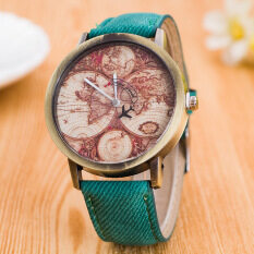 Bounabay Brand Denim Retro World Map Airplane Leisure Bronze Canvas Strap Watches Malaysia