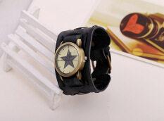 Bounabay New Arrival Men Vintage Punk Retro Star Shape Handmade Leather Decoration Bracelet Watch Malaysia