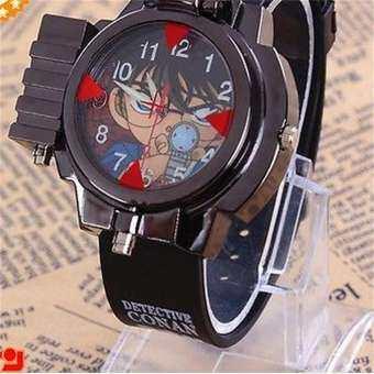 Boy Watch detective CONAN Infrared Glass Red Light Laser Analog Boy นาฬิกาข้อมือ