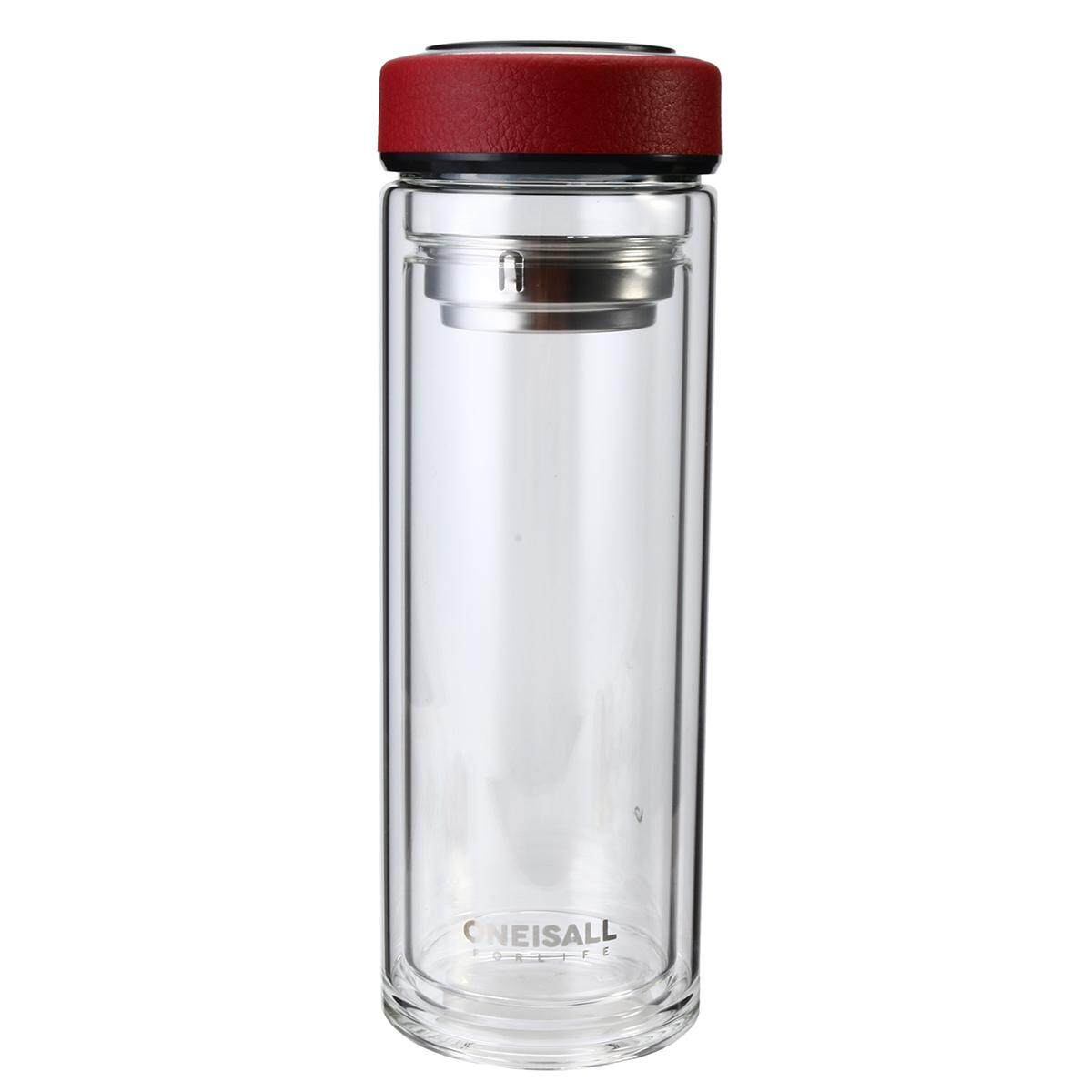 Bpa Free 500Ml Double Wall Glass Water Bottle Tumbler With Tea Infuser Strainer Lid Red Intl For Sale Online