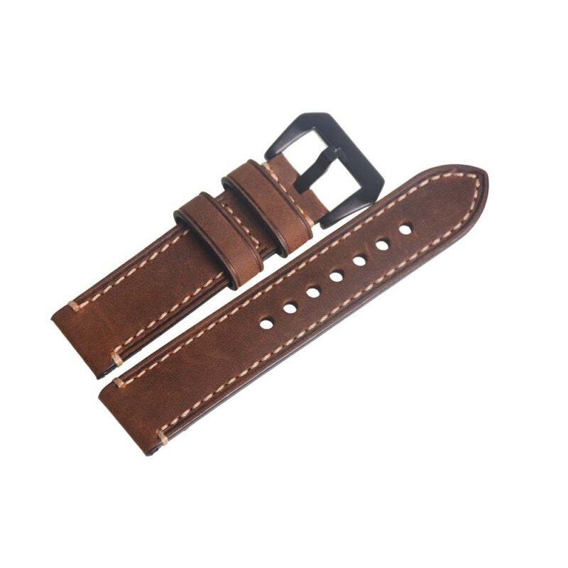 Brown 22mm Genuine Leather Wristwatch Watch Strap Band Watchband Black Buckle Malaysia
