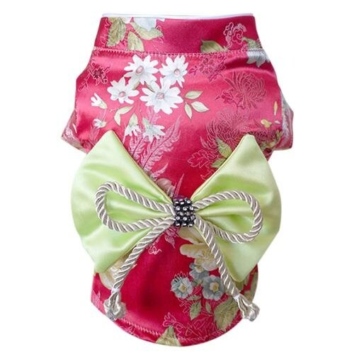 Buffy Peliharaan Rumah 1 Piece Mawar Brokat Merah Peliharaan Kimono Jepang Anjing Pakaian Kode L Bust: 44 Cm Panjang Belakang: 38 Cm-Internasional