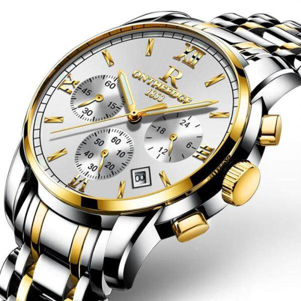 MISTLETOE Business Luxury Men Waterproof Chronograph Watch Men Original Black Gold Silver Stainless Steel Watch for Men Jam Tangan Lelaki Malaysia