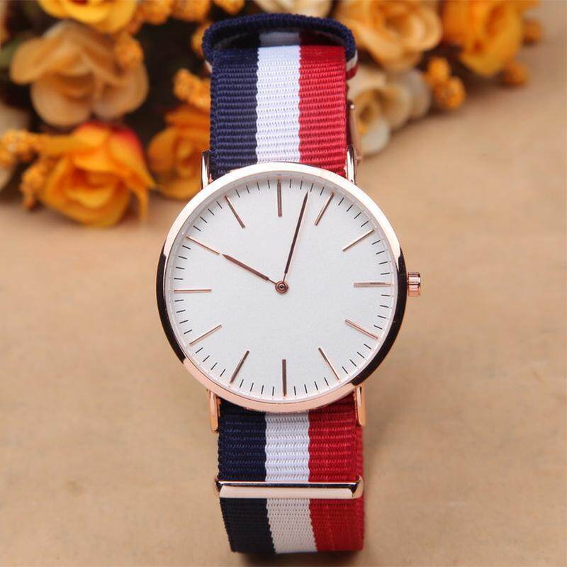 BUYINCOINS Watch Women Men Leather Nylon Strap Rosegold (Multicolor) Malaysia