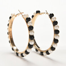 Buytra Women Elegant Faux Pearl Earings Chic Beads Gold Plated Ear Hoop Circle Earrings Black+white By Buy Tra.