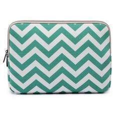 Canvas Fabric Sleeve Case with Chevron Pattern Laptop Bag for Macbook Air 11 Inch - Green