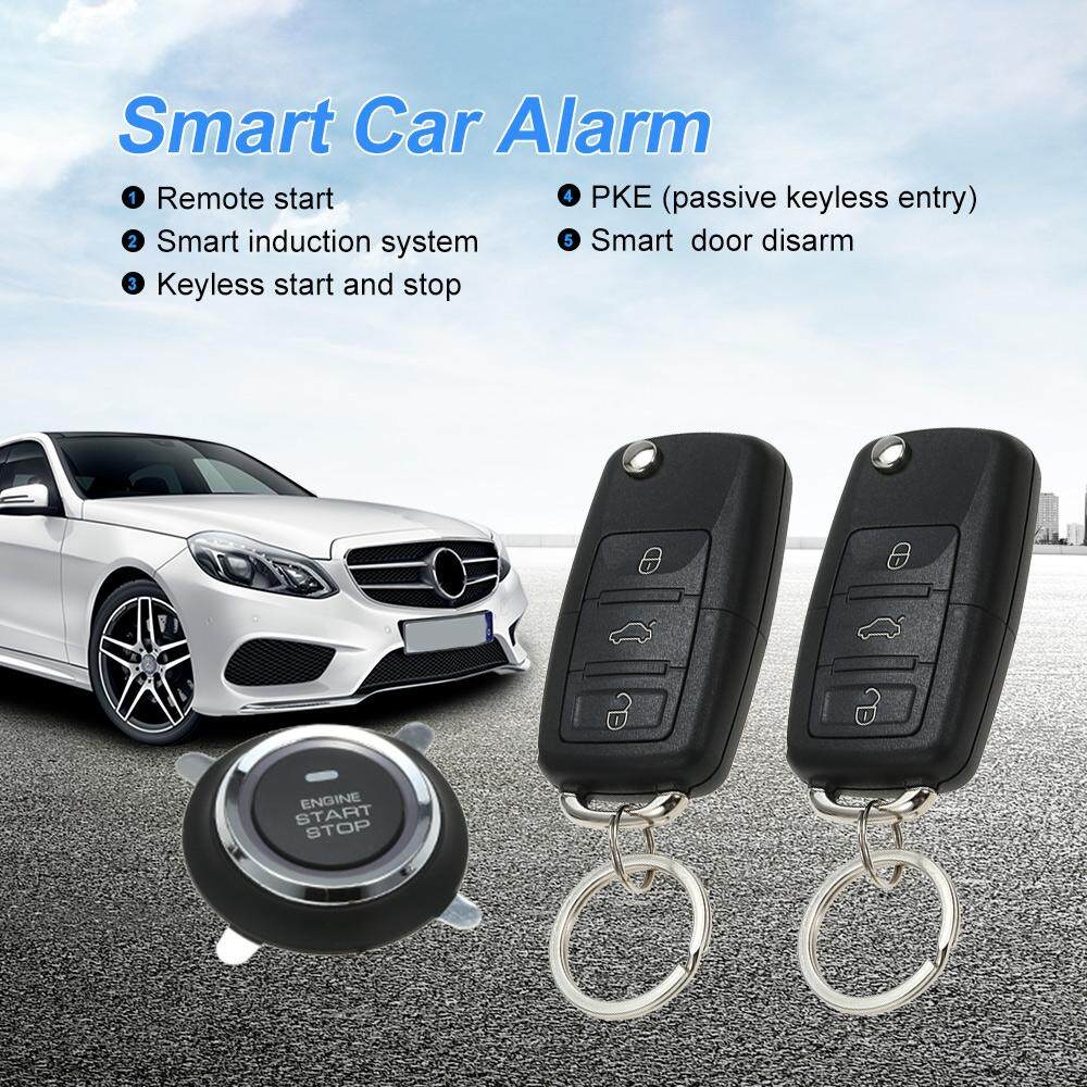 Car Alarm System Pke Passive Keyless Entry Central Locking Push Button Engine Ignition Start Stop Remote Engine Start - Intl By Ttech.