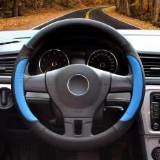 Mobil Kemudi Sarung, Diameter 14 Inch, Kulit PU, untuk Musim Penuh, hitam dan Biru-S