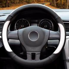 Mobil Kemudi Sarung, Diameter 14 Inch, Kulit PU, untuk Musim Penuh, hitam dan Putih-S