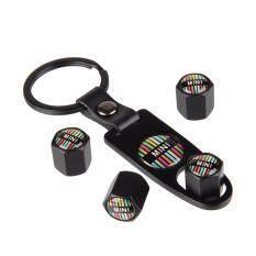 Ban Mobil Gaya Tutup Batang Katup dengan Kulit Gesper Gantungan Kunci untuk Rainbow Logo MINI Cooper