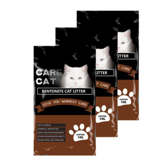 Care Cat Bentonite Cat Litter 10L Coffee x 3