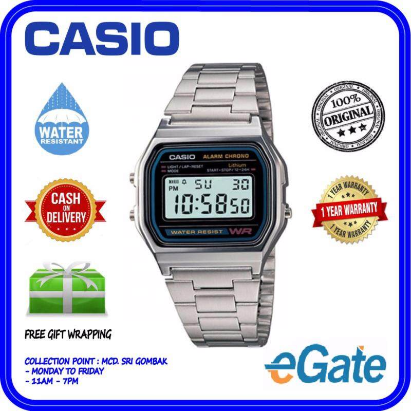 Casio A158WA-1D Unisex Digital Stainless Steel Original Watch Malaysia