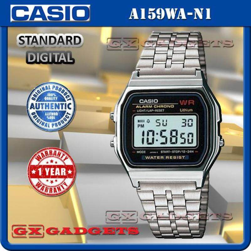 CASIO A159WA-N1 STANDARD DIGITAL WATCH SILVER LED LIGHT ALARM STOPWATCH STAINLESS STEEL BAND WR A159W SERIES Malaysia