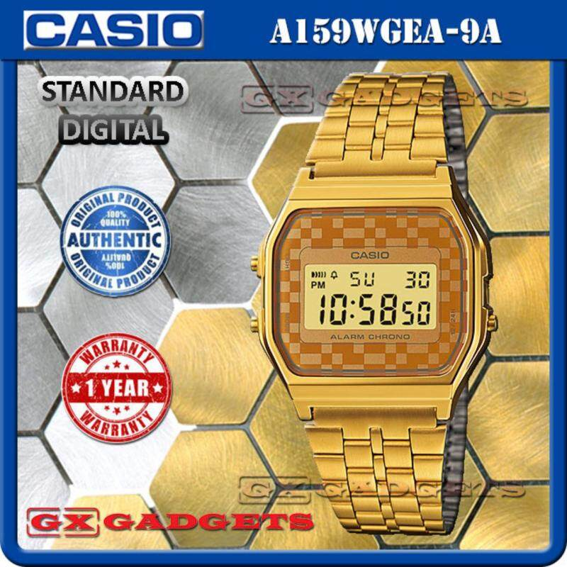 CASIO A159WGEA-9A STANDARD DIGITAL WATCH GOLD TONE LED LIGHT ALARM STOPWATCH STAINLESS STEEL BAND WR A159W SERIES Malaysia