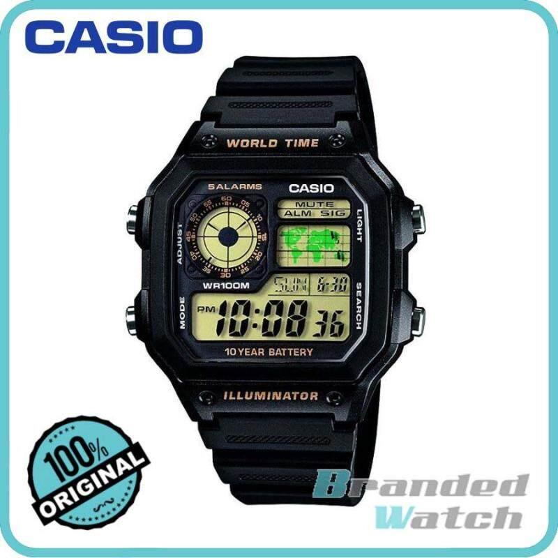 Casio AE-1200WH-1BVDF Mens Digital World Time Resin Watch AE-1200WH-1BV Malaysia