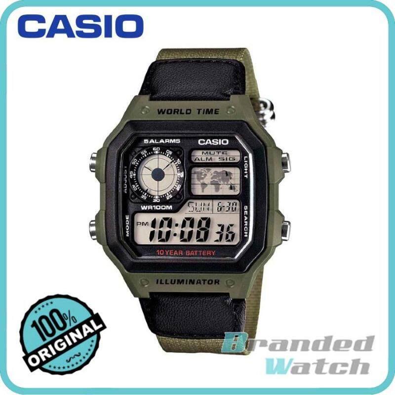 Casio AE-1200WHB-3BVDF Mens Digital World Time Nylon Strap Watch AE-1200WHB-3BVDF Malaysia