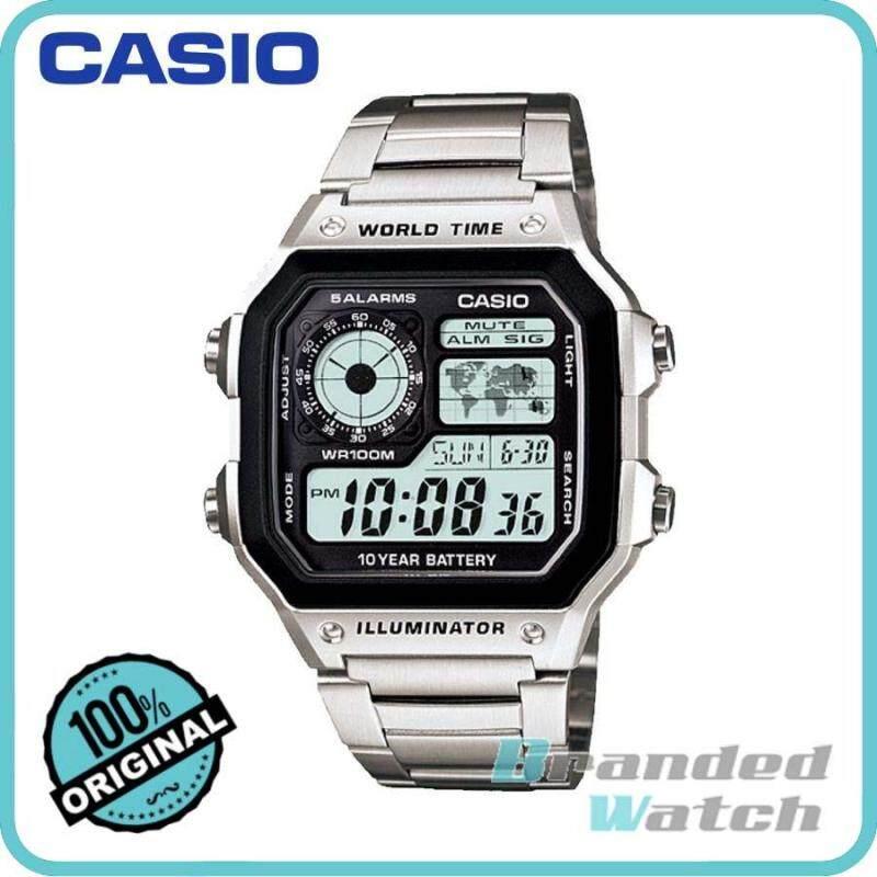 Casio AE-1200WHD-1AVDF Mens Digital World Time Steel Watch AE-1200WHD-1AV Malaysia