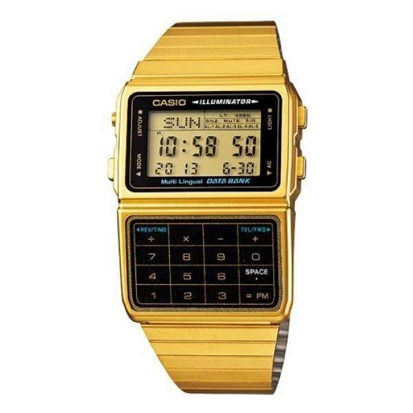 Casio # DBC611G-1D Pria Gold Nada 25 Memori Kalkulator Bank Data Watch-Intl