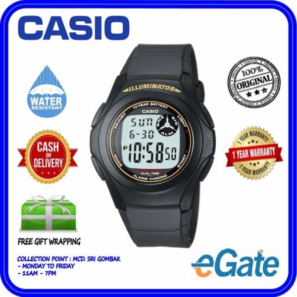 ( 2 YEARS WARRANTY ) Casio F-200W-9A Men Digital Classic Black Resin Band Youth Design Original Casual Watch (F-200W) Malaysia
