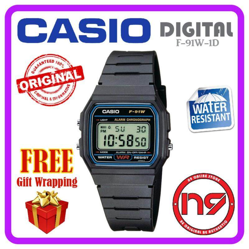 Casio F-91W-1D Classic Men Digital Black Watches Standard Watch Jam Tangan Original Malaysia