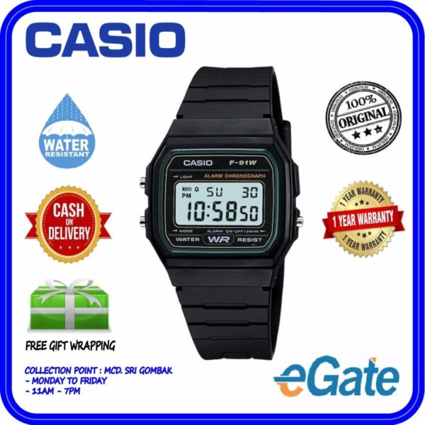 Casio F-91W-3D Kid & Men Digital Classic Black Resin Band Original Casual Watch (F-91W) Malaysia