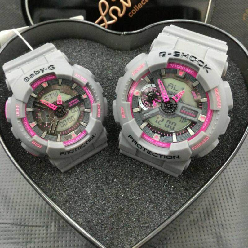 Casio G-Shock & Baby-G Mens Fancy Couple Dual Display Watches ( Grey/Pink ) Malaysia