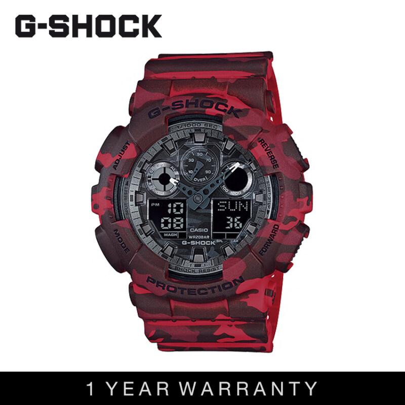 Casio G-Shock Men GA-100CM-4ADR Camouflage Red Sports Resin Watch Malaysia
