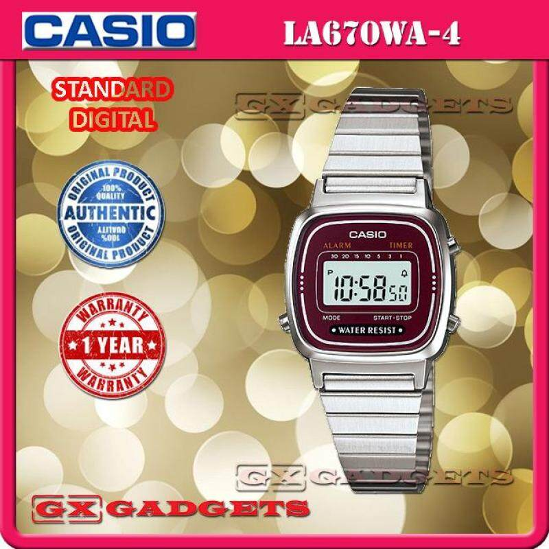 CASIO LA670WA-4 STANDARD DIGITAL WATCH SILVER ALARM TIMER STOPWATCH STAINLESS STEEL BAND WR LA670W SERIES Malaysia
