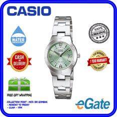 ( 2 YEARS WARRANTY ) Casio LTP-1241D-3A Analog Women & Ladies Date Display Light Green Dial Stainless Steel Quartz Original Watch (LTP-1241D) Malaysia
