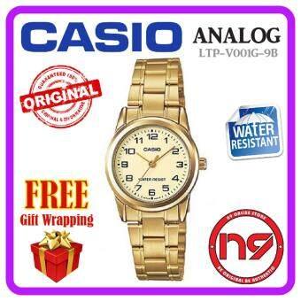 Casio LTP-V001G-9B Analog Women Watches Stainless Steel Gold Ladies Business Watch Jam