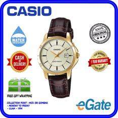 ( 2 YEARS WARRANTY ) Casio LTP-V004GL-9A Analog Women Date Display Gold Dial Brown Leather Strap Original Watch (LTP-V004GL) Malaysia