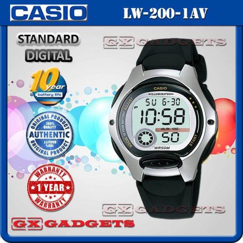CASIO LW-200-1AV STANDARD DIGITAL WATCH 10 YEAR BATTERY LIFE DUAL TIME ALARM STOPWATCH RESIN BAND WR50M LW-200 SERIES Malaysia