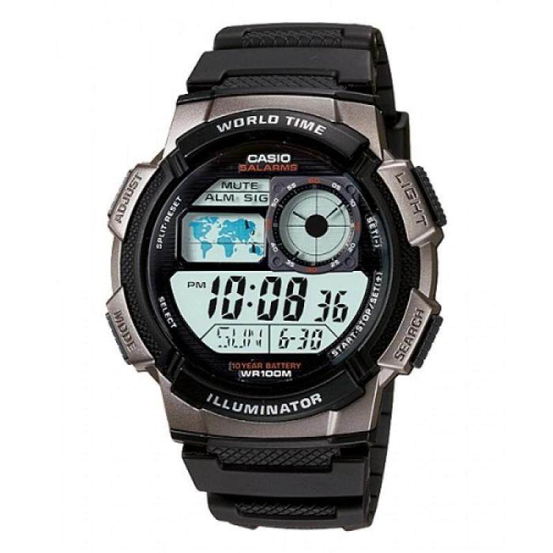 Casio Mens AE-1000W-1B 10-Year Battery Life Multi-Function Digital Black & Grey Watch (Free Shipping) Malaysia