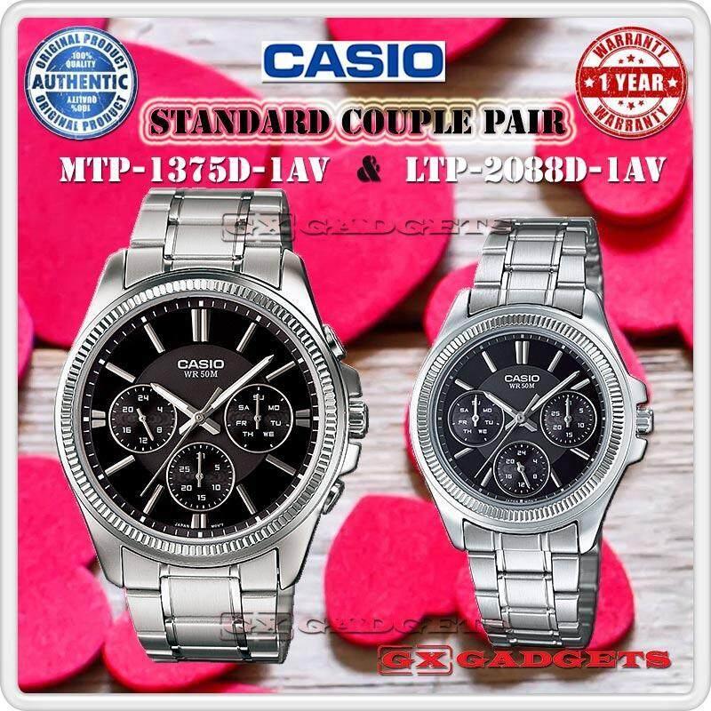 CASIO MTP-1375D-1AV + LTP-2088D-1AV STANDARD Analog Couple Pair Watch Date Day 24Hour WR50m MTP-1375 LTP-2088 Series Malaysia