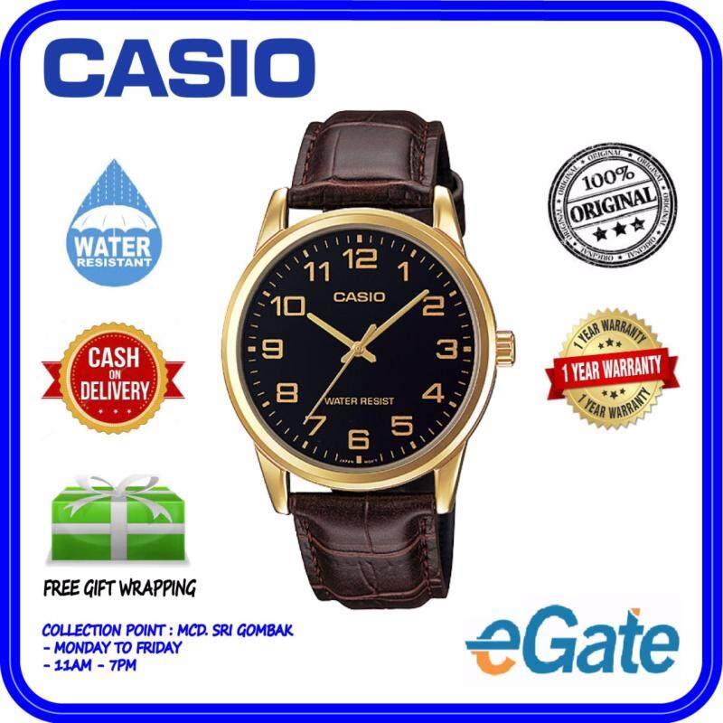 Casio MTP-V001GL-1B Men Analog Watch - Brown Black Casual Original Malaysia