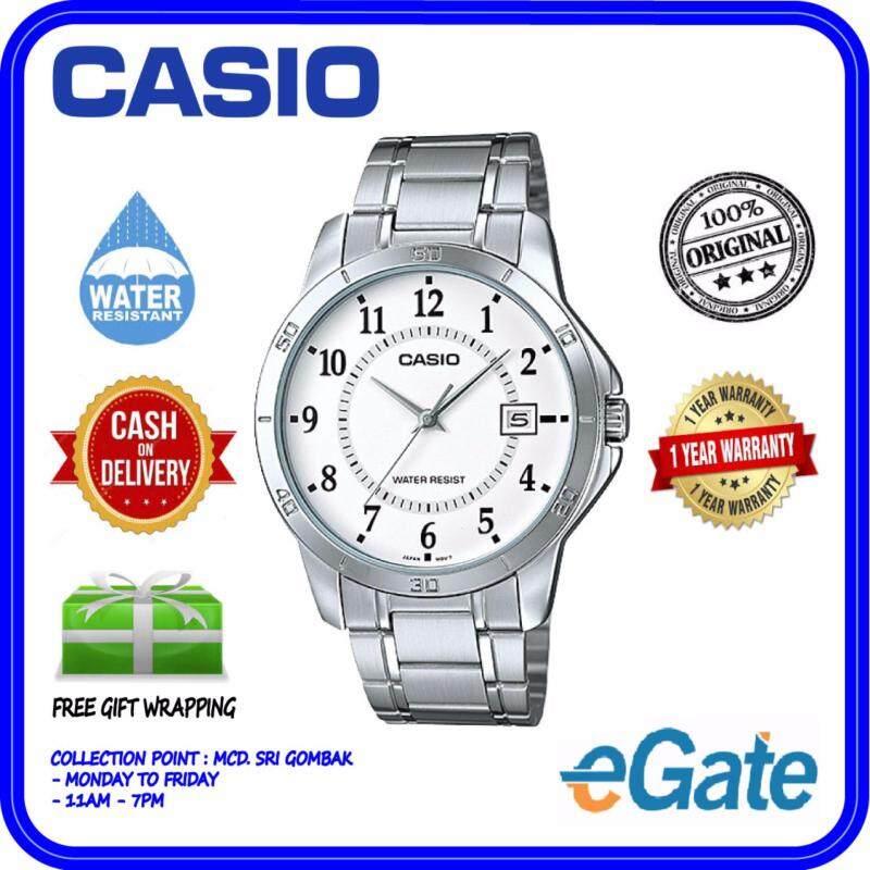 Casio MTP-V004D-7B Men Analog Watch - Silver White Casual Original Malaysia