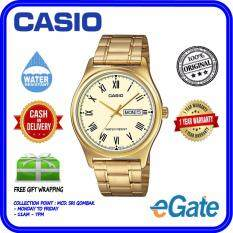 ( 2 YEARS WARRANTY ) Casio MTP-V006G-9B Analog Men Date Day Functioning Gold Stainless Steel Strap Original Casual Watch (MTP-V006G) Malaysia