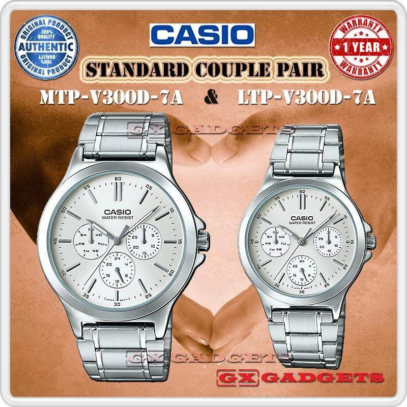 Casio Mtp-V300D-7A + Ltp-V300D-7A Couple Pair Watch 3 Dial Wr S. Steel - Silver Malaysia