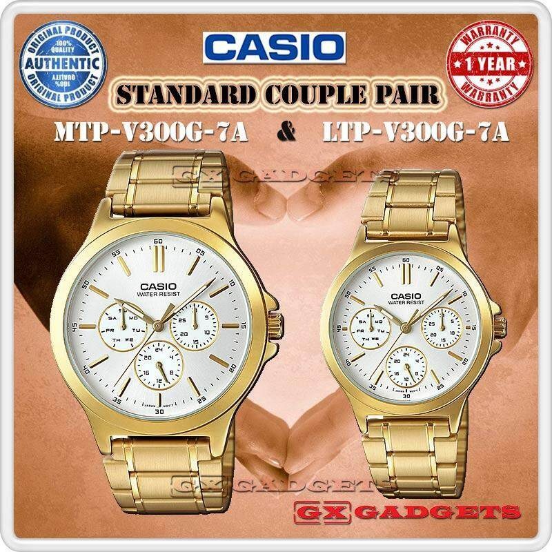Casio Mtp-V300G-7A + Ltp-V300G-7A Couple Pair Watch 3Dial Wr Gold Tone Malaysia