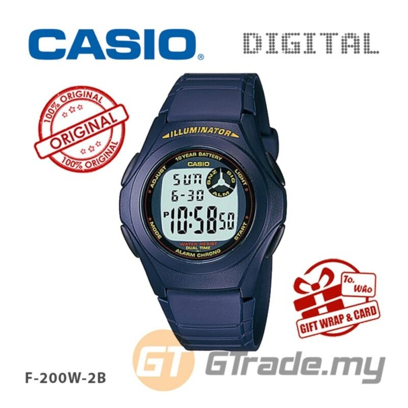 CASIO STANDARD F-200W-2A Kids Digital Watch Classic Simple Young Design Malaysia