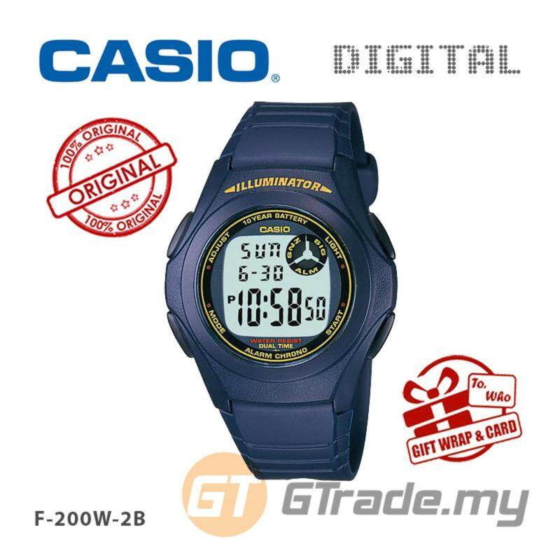 CASIO STANDARD F-200W-2B Kids Digital Watch Classic Simple Young Design Malaysia