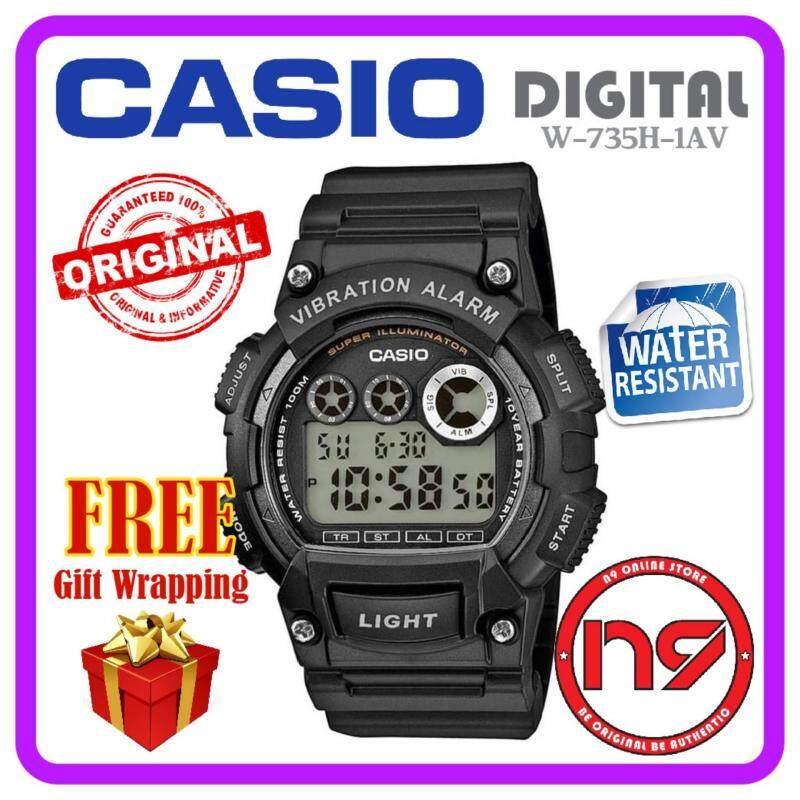 Casio W-735H-1AV Digital Men Watches Vibration Alarm Rubber Strap Sports Watch Jam Tangan Original Malaysia