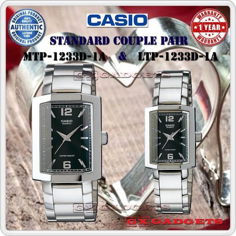 CASIO MTP-1233D-1A + LTP-1233D-1A STANDARD Analog Couple Pair Watch Cut Glass Stainless Steel Band WR MTP-1233 LTP-1233 1233D Series Malaysia