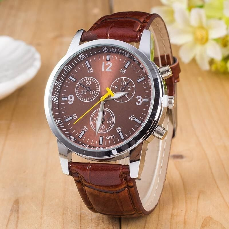 Casual Men Leather Band Glass Dial Quartz Movement Wristwatches Three Eyes Malaysia