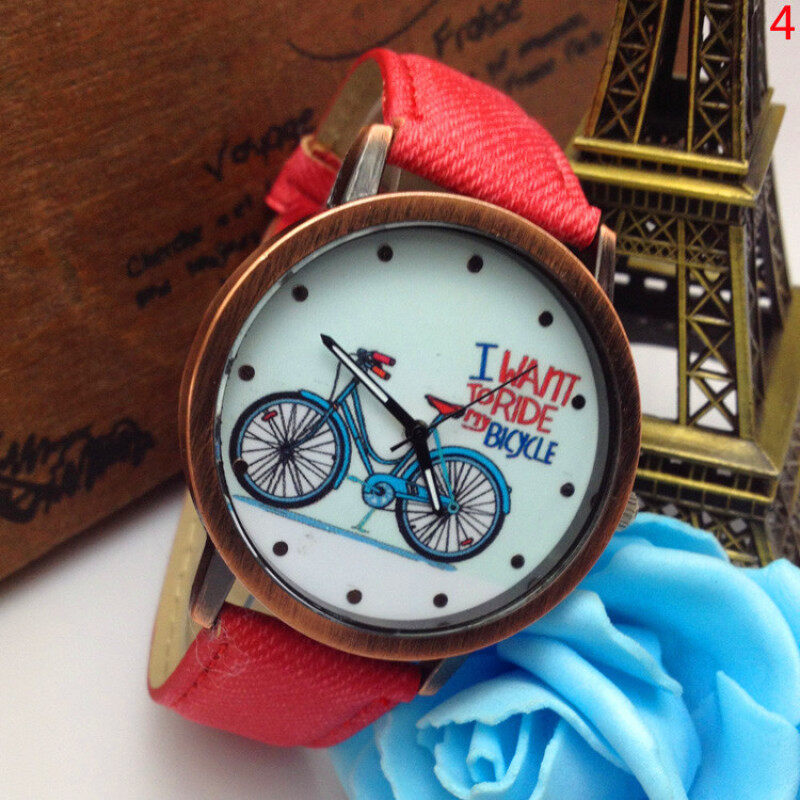 CatWalk Unisex Bicycle Transparent Hollow Dial Leather Watch (Red) Malaysia