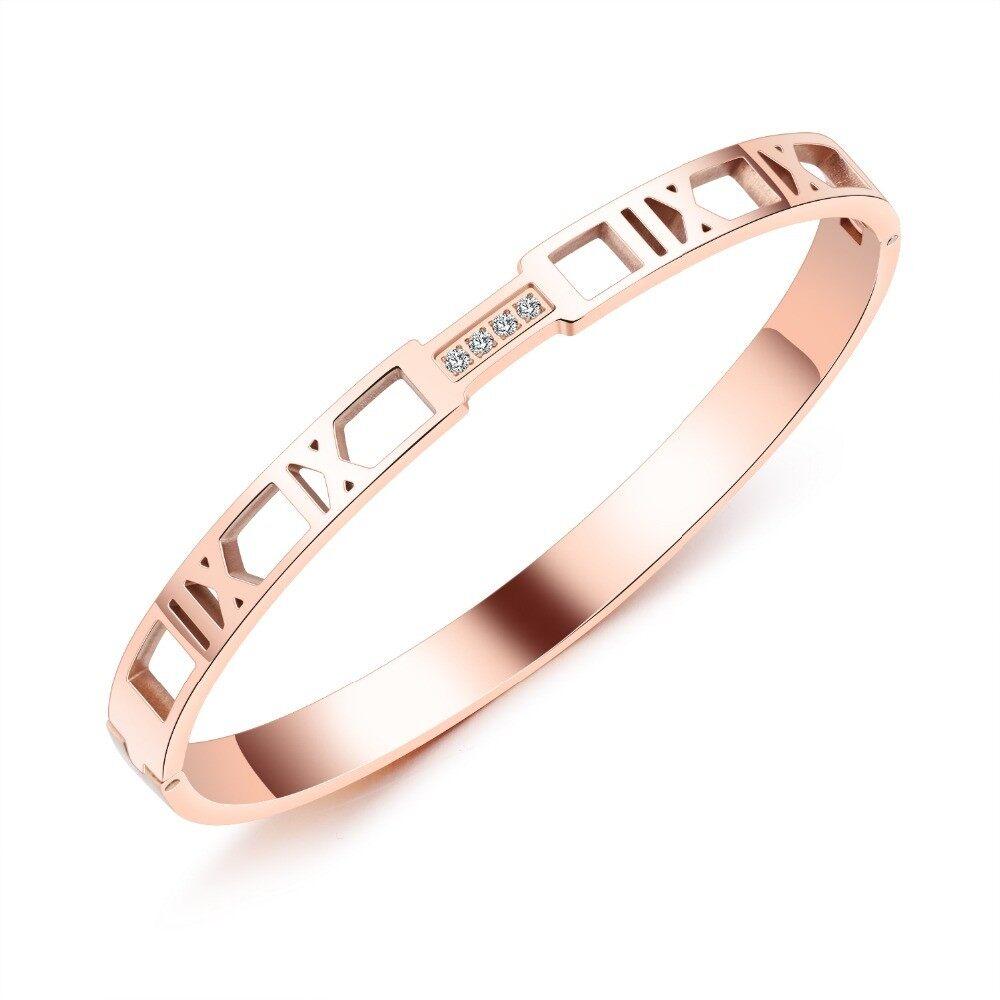OAK Chic Berongga Roman Numbers Wanita Terbuka Bangle Pave Zirkonia Rose Gold Warna Persahabatan Gelang Perhiasan