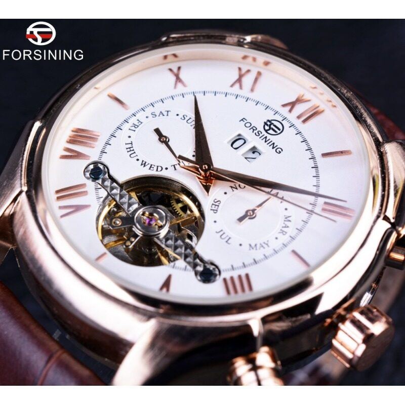 Classic Rose Gold Case Brown Leather Strap Mens Automatic Watch Top Brand Luxury Men Wristwatch Malaysia