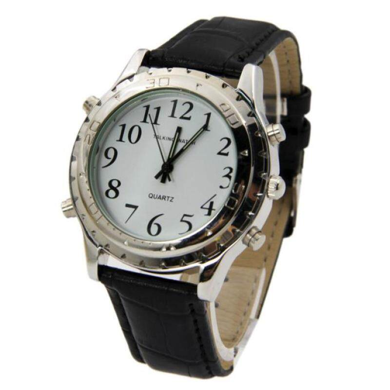Coconie English Talking clock for blind or visually impaired Watch yourself Black Malaysia