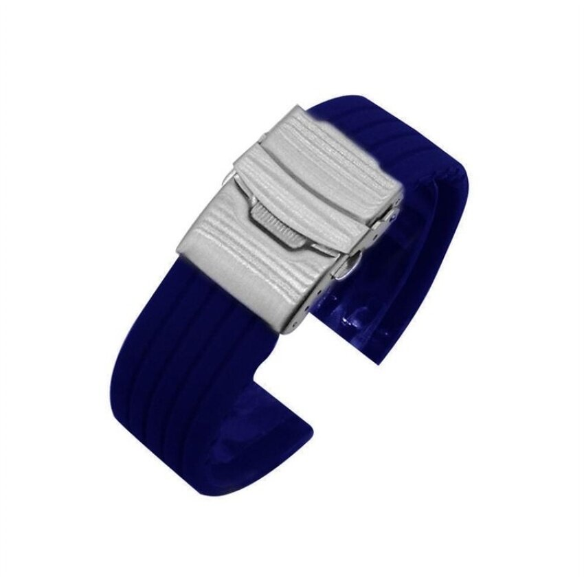 HUADE Universal 24Mm Silicone Watch Replacement Band Quick Releasewatchband Strap (Blue) Malaysia